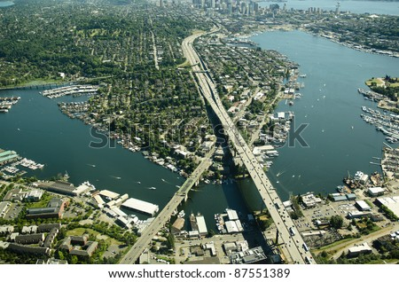 I-5 crossing the Lake Union ship canal north of Seattle - aerial view.