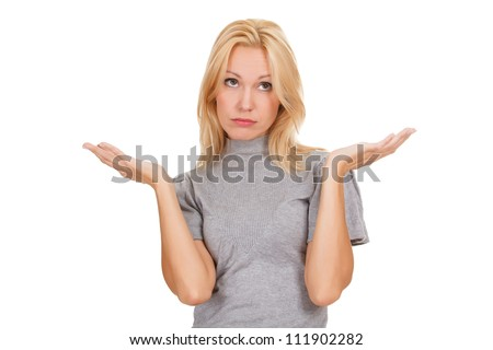 I don't know. Young woman against white background