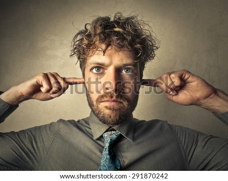 I don't want to listen anymore - stock photo