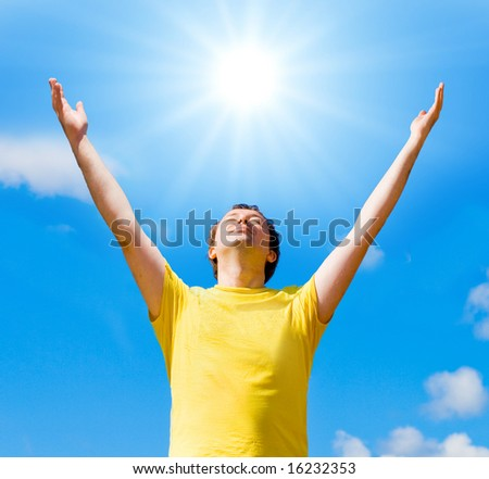 "I embrace the sun -  of ""Business Concepts"" multiple series in studio's portfolio - stock photo"