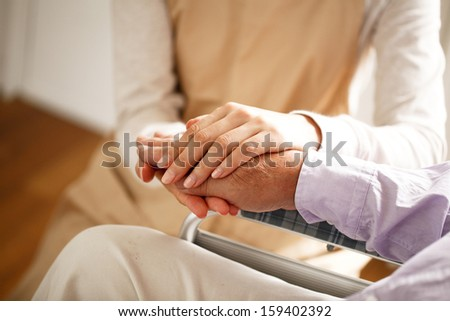 I encourage the elderly - stock photo