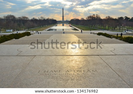 I have a Dream, Martin Luther King on Lincoln's Memorial steps with George Washington Monument on the horizon, Washington DC, United States - stock photo