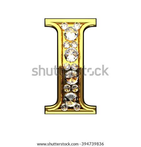 i isolated golden letters with diamonds on white