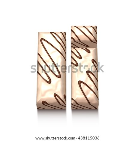 I letter of white chocolate with brown cream in 3d rendered on white background. - stock photo