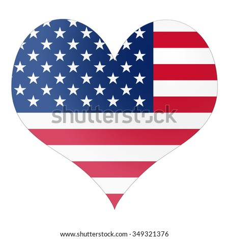 I love America heart shape symbol with white isolated background