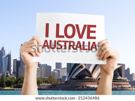 I Love Australia card with Opera House background - stock photo
