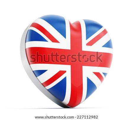 I love Britain heart shaped British flag. - stock photo