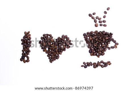 i love coffee coffee grains shape on white background coffee frame - stock photo