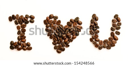 I love coffee concept using coffee bean isolated on white