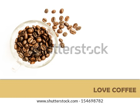 I love coffee isolated on white background - stock photo