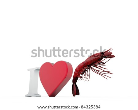 i love crayfishes isolated on white background