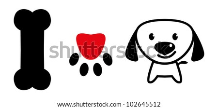 I love dog message showing bone, pup paw with love symbol and a cute puppy - stock photo