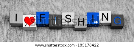 I Love Fishing, sign for angling, anglers and catching big fish...for fishermen everywhere, with fish icon. Panorama. - stock photo