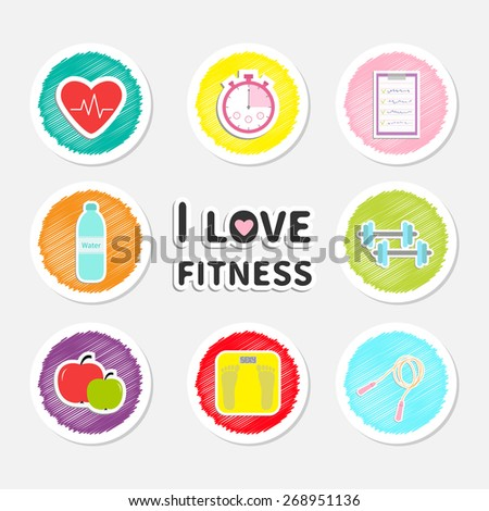 I love fitness round icon set isolated Timer whater, dumbbell, apple, jumping rope, scale, note heart Flat design - stock photo