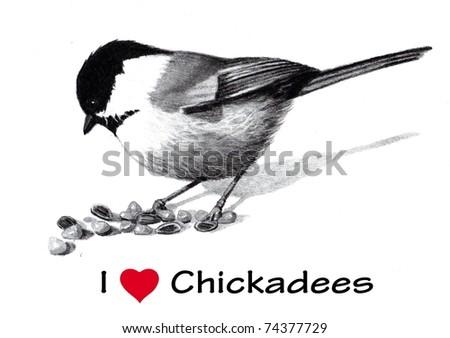 I Love (Heart) Chickadees - stock photo