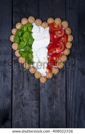 I love Italy - food composition in the colors of the Italian - stock photo