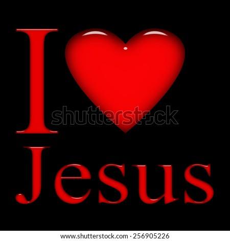 I love Jesus, font, heart and black background - stock photo