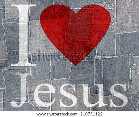 I love Jesus font heart and fabric background - stock photo
