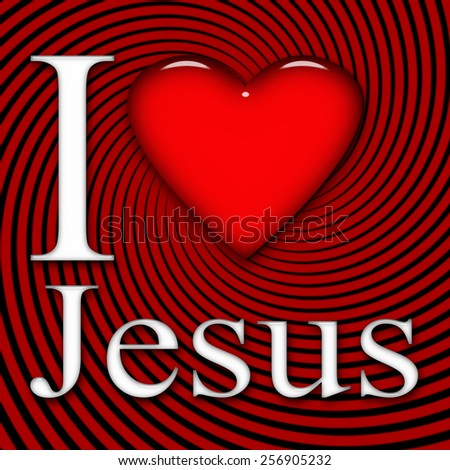 I love Jesus, font, heart with black and red background - stock photo