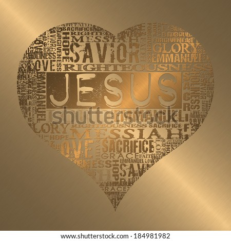 I love Jesus Religious words in gold style - stock photo