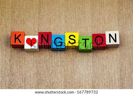 I Love Kingston, Jamaica, Bahamas, sign series for travel, place names and holidays - stock photo