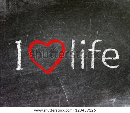 I love life handwritten with white chalk on a blackboard. - stock photo