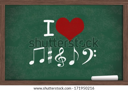 I love Music, I heart with music note symbols written on a chalkboard with a piece of white chalk - stock photo