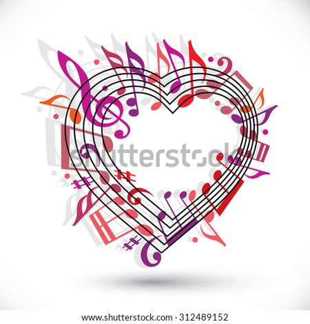 I love music template in red pink and violet colors, heart made with musical notes and clef, contain copy space inside for your text. Music theme design template. - stock photo