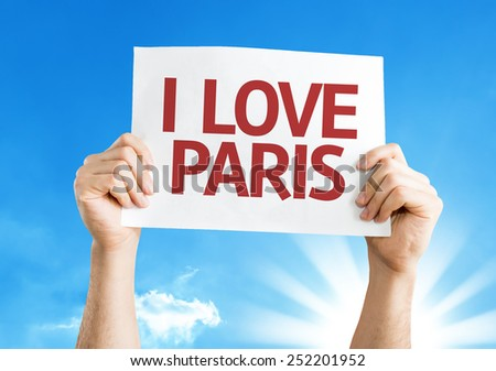 I Love Paris sign with sky background - stock photo