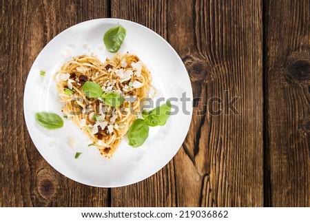 I Love Pasta (Spaghetti with fresh made Tomato Pesto, Basil and Parmesan) - stock photo