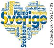 I Love Sverige (Sweden) / Written Sverige (sweden) and Swedish cities with heart-shaped, Swedish flag colors - stock photo