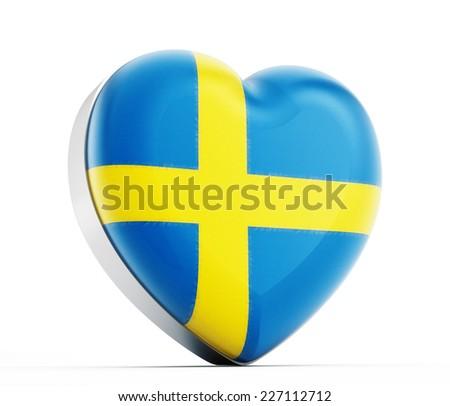 I love Sweden heart shaped Swedish flag. - stock photo