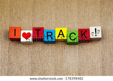 I Love Track, sign series for track events, athletics, running and competition, with footprint icons. - stock photo