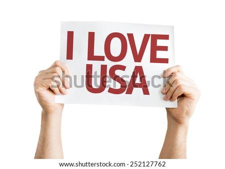 I Love USA card isolated on white background - stock photo