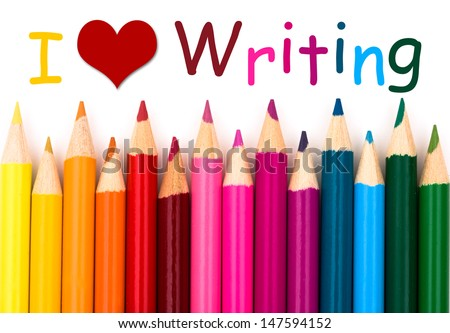 I Love Writing , A pencil crayon border isolated on white background with words I Love Writing - stock photo