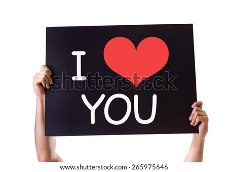 I Love You card isolated on white - stock photo