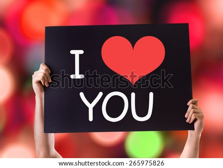 I Love You card with bokeh background - stock photo