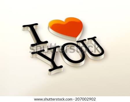 I Love You 3D logo with heart sign - stock photo