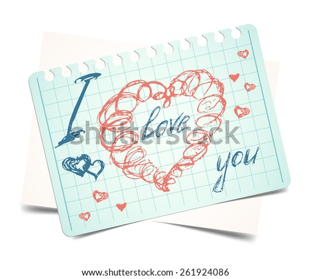 i love you.  doodle heart valentines card. Raster version - stock photo