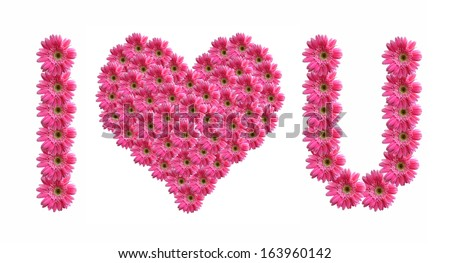 I love you from pink gerbera flowers alphabet isolated on white  - stock photo