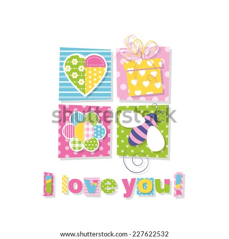 I love you greeting card illustration - stock photo
