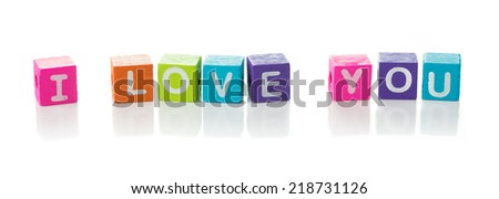I love you message illustrated with colourful cubes