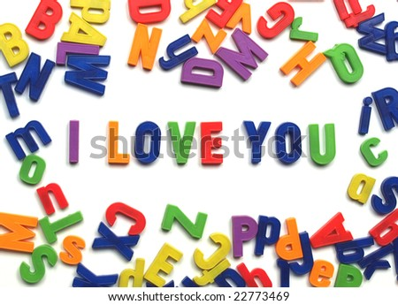 I love you message written with plastic toy characters