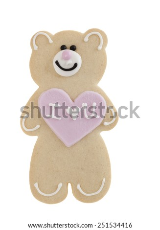 I love you shortbread teddy bear isolated on white background - stock photo