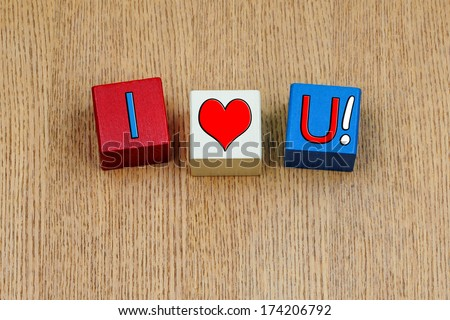I Love You ...! Sign series for relationships, romance, love and Valentines Day Lovers! Or England rugby football...? - stock photo