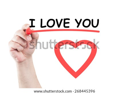 I love you statement concept text write on transparent wipe board by hand holding a marker