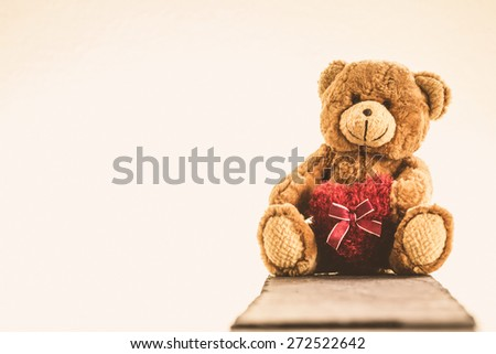 I love you - Teddy Bear with Heart - stock photo