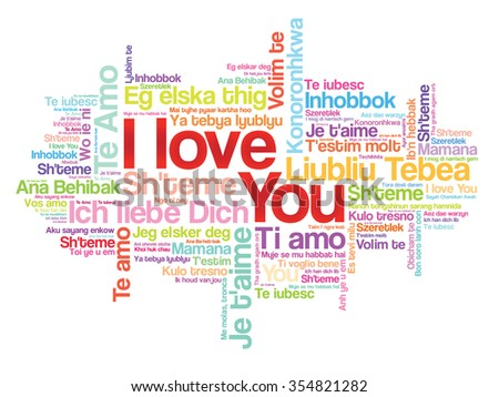 I Love You Word Cloud In Different Languages Concept Background
