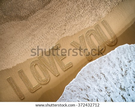 I Love You written on the beach - stock photo