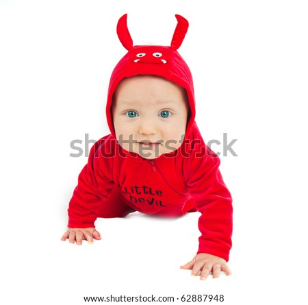 I'm a little devil! Cute half-year-old boy in costumes - stock photo